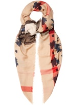 Burberry Beast and check-print lightweight scarf