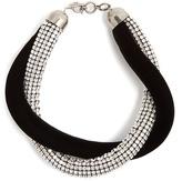 Saint Laurent Twisted crystal-embellished and velvet necklace