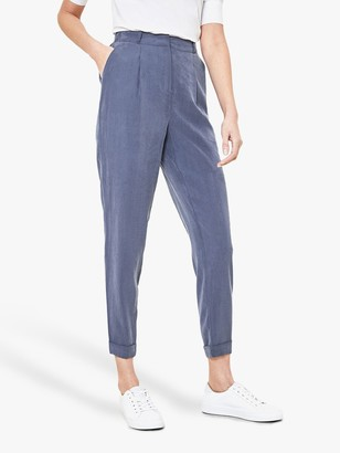 Oasis Turn Up Peg Trousers, Dark Blue