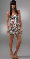 Ruched Zip Mini Dress