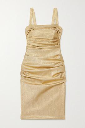 Dolce & Gabbana Ruched Silk-blend Lame Dress - Gold