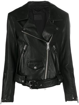 AllSaints Off-Centre Zipped Biker Jacket