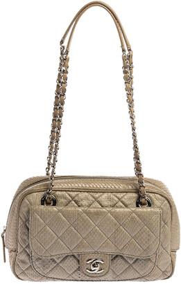 Chanel Light Grey Python Front Pocket Shoulder Bag