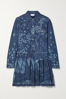 RED Valentino Frayed Pleated Printed Denim Mini Dress - Blue