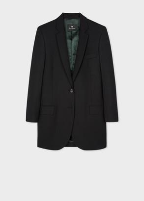 Paul Smith Women's Boyfriend-Fit Black Wool-Hopsack Longline Blazer