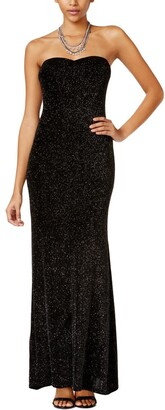 Jump Women's Strapless Glitter Slinky Long Prom Dress