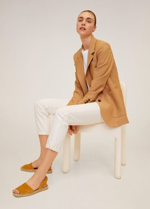 MANGO Esparto leather sandals mustard - 6 - Women