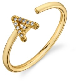 Unwritten Cubic Zirconia Initial Gold-Tone Delicate Adjustable Ring