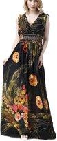 Yacun Women's Sexy Floral Print Bohenmian Maxi Beach Summer Dress Green_