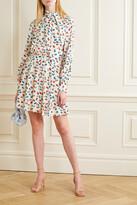 Thumbnail for your product : Jason Wu Tie-neck Floral-print Silk Crepe De Chine Mini Dress - Cream