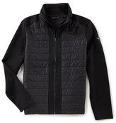 Michael Kors Woven Front Quilted Neoprene Full-Zip Jacket