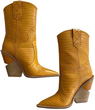 Fendi Cowboy Yellow Leather Boots