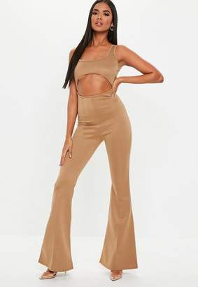 Missguided Taupe Cut Out Square Neck Flare Leg Romper