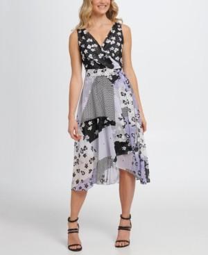 DKNY Sleeveless Double-v Faux Wrap Dress W/Belt