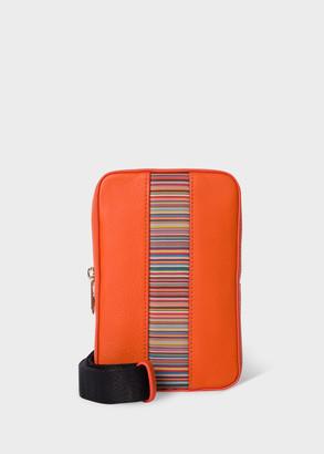 Paul Smith Orange Leather 'Signature Stripe' Neck Pouch