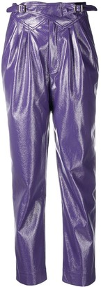 Rotate by Birger Christensen Cropped Faux Leather Trousers