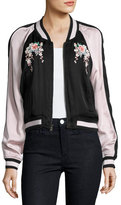 Joie Juanita Floral-Embroidered Bomber Jacket, Black/Pink