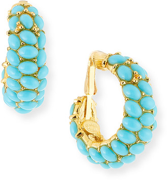 Kenneth Jay Lane Cabochon Crystal Hoop Earrings, Turquoise