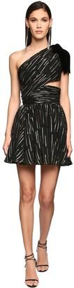 Saint Laurent One-shoulder Lame Mini Dress