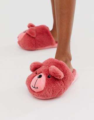 Asos Design DESIGN Zachary teddy slippers in pink