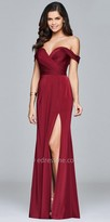 Faviana Off the Shoulder Faille Satin Pleated Evening Dress