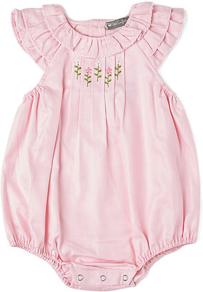 Petit Confection Girls' Rompers Pink - Pink Smocked Bubble Romper - Newborn & Infant