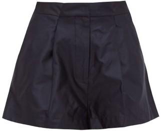 Raey Pleat-detail Silk-taffeta Shorts - Womens - Navy