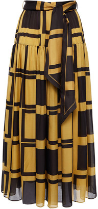 Zimmermann Belted Printed Silk Crepe De Chine Midi Skirt