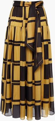 Zimmermann Gathered Printed Silk Crepe De Chine Midi Skirt