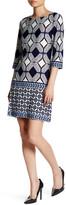 Taylor 3/4 Sleeve Diamond Emblem Jersey Print Shift Dress