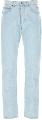 MSGM Paint Logo Print Denim Jeans