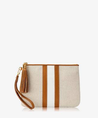 GiGi New York Westley Wristlet, Italian Canvas & Camel Calfskin Leather
