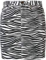 Saint Laurent zebra print denim skirt