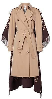 Burberry Women's Blanket Fringe Back Trench Coat