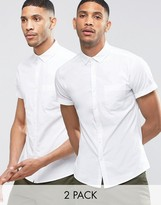 Asos Skinny Oxford 2 Pack In White With Short Sleeves