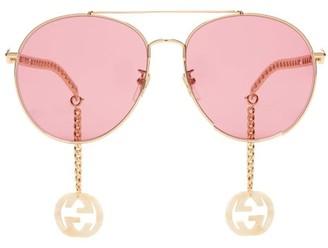 Gucci GG Chain-charm Aviator Metal Sunglasses - Pink Gold
