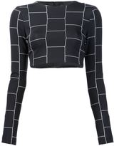 Christian Siriano cropped check print top - women - Acetate - 2