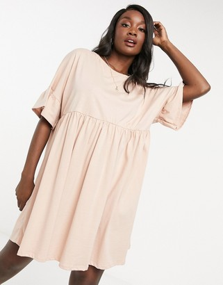 ASOS DESIGN super oversized frill sleeve smock in tan