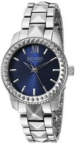 SO&CO New York Women's 5072.2 Madison Quartz Blue Dial Stainless Steel Pyramid Design Link Bracelet Watch