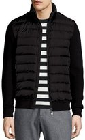 Moncler Zip-Up Sweater with Puffer-Front, Black