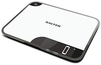 Salter Max Chopping Board Digital Kitchen Weighing Scales – Extra Large Glass Platform Design Electronic Cooking Scale Appliance for Home and Kitchen, Weigh and Chop Food up to 15kg, 15 Year Guarantee – White