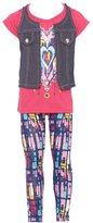 RMLA Little Girls Heart In Heart Print Chambray Vest Leggings Outfit