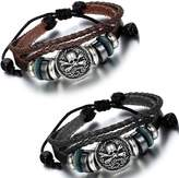 Flongo 2PCS Men's Tribal Braided Leather Rope Gothic Skull Surf Wrap Cuff Bangle Bracelet, Fit 7-11 inch Wrist