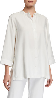 Natori Plus Size Sanded Twill Button-Front Easy Tunic