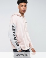 Asos TALL Oversized Hoodie With Cut & Sew Sleeve & Print