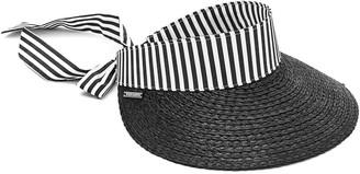 Vince Camuto Fabric Tie Back Straw Visor