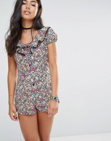 Motel Button Front Playsuit With Frill Collar And Lace Trim