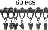 AYBO Metal Curtain Rings with Clips Pack of 50