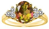 Gem Stone King 2.50 Ct Oval Mango Mystic Topaz White Diamond 14K Yellow Gold Ring