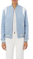 Saint Laurent Women's Leather-Inset Varsity Jacket-LIGHT BLUE